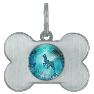 Enchanting seahorse in a fantasy underwater world pet ID tag