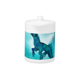 Enchanting seahorse in a fantasy underwater world teapot