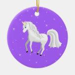 Enchanting Unicorn on Purple Background and Stars Ceramic Ornament