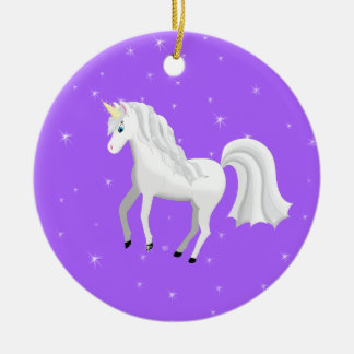 Enchanting Unicorn on Purple Background and Stars Ceramic Ornament
