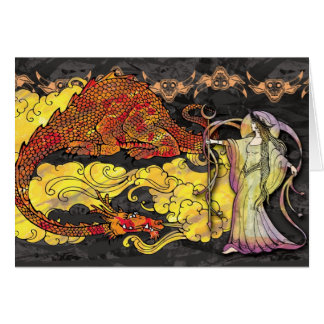 Enchanting Witch Casting a Spell on Dragon Card