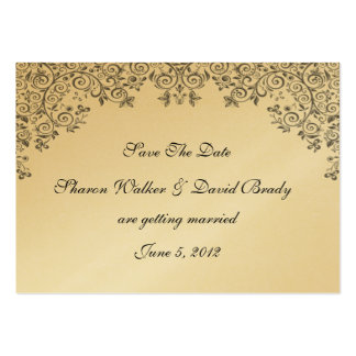 Enchantment Black And Gold Save The Date Large Business Cards (Pack Of 100)