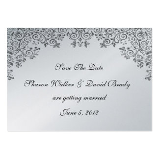 Enchantment Black And Silver Save The Date Large Business Cards (Pack Of 100)