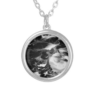 ENCHANTMENT  (black & white abstract art) ~ Round Pendant Necklace