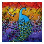 Enchantment Colorful Peacock Poster