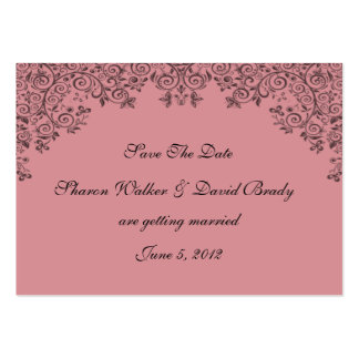 Enchantment Deep Rose And Black Save The Date Large Business Cards (Pack Of 100)