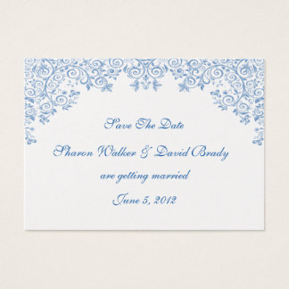Enchantment Metallic Pearl And Blue Save The Date Business Card