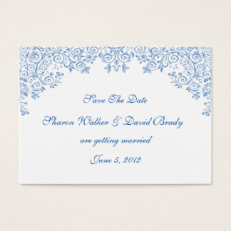 Enchantment White And Blue Save The Date Business Card