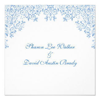 Enchantment White And Blue Wedding Invites
