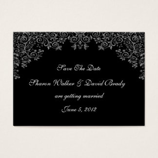 Enchantment White & Black Save The Date Business Card