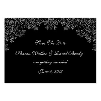 Enchantment White & Black Save The Date Large Business Cards (Pack Of 100)