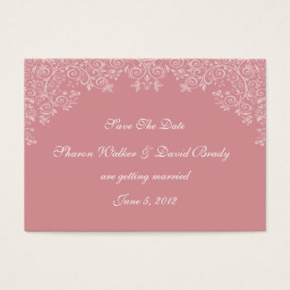 Enchantment White & Deep Rose Save The Date Business Card