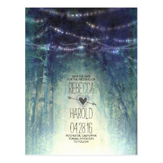 Enchated Forest String Lights Save the Date Postcard