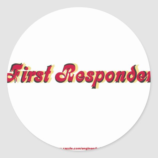 Encienda al primer respondedor pegatina redonda