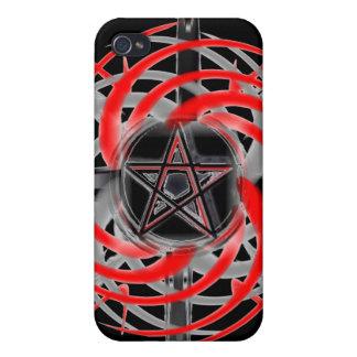 Encienda la caja roja y negra de la estrella del i iPhone 4/4S fundas