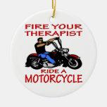 Encienda su paseo del terapeuta una motocicleta adorno navideño redondo de cerámica