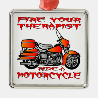 Encienda su paseo del terapeuta una motocicleta adorno cuadrado plateado