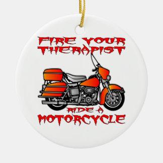 Encienda su paseo del terapeuta una motocicleta adorno redondo de cerámica