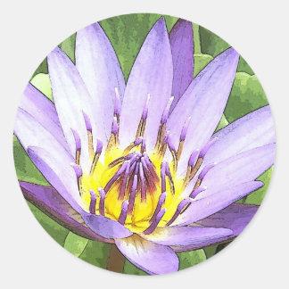 Enciéndase en el corazón de las tarjetas de Lotus Pegatina Redonda