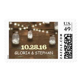 enciende sellos rústicos del boda de los tarros de