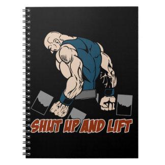 Enciierre y levante al Weightlifter Libro De Apuntes