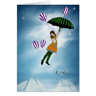 Encima de ascendente y lejos tarjeta de felicitación