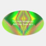 Encima de, encima de y fractal ausente pegatina ovalada