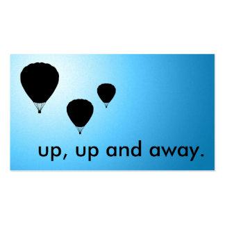 encima de, encima de y lejos. globos tarjeta personal