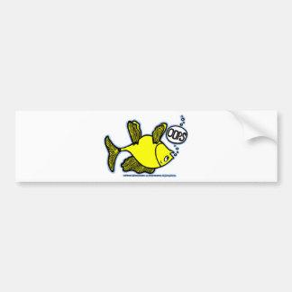 ¡Encima de lado abajo pesque! Etiqueta De Parachoque