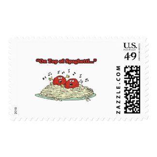 encima de las albóndigas del canto de los sello postal