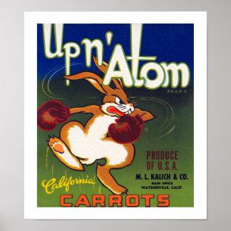 Encima de las zanahorias de California del átomo d Póster