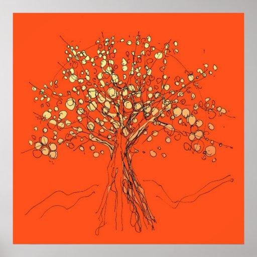 encima de un poster del árbol - colores calientes
