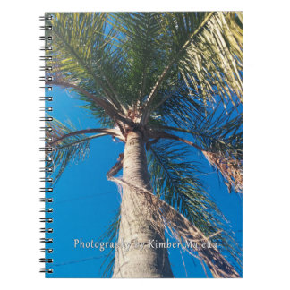 Encima del cuaderno de la palmera