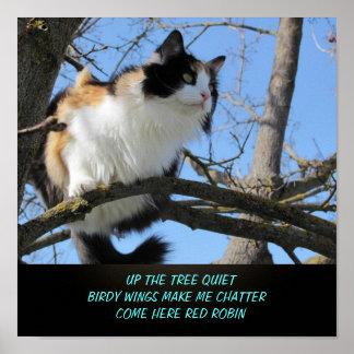 Encima del Haiku del gato de la tranquilidad del Póster