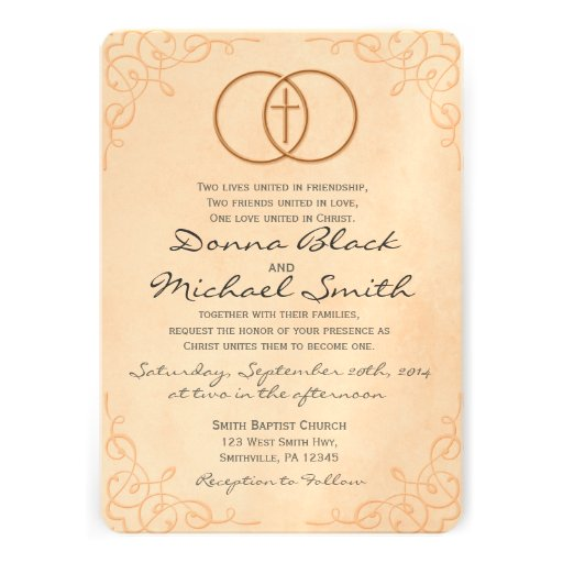 Encircled Cross Religious Wedding Invitations 5 X 7