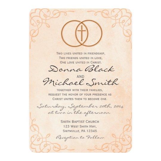 Encircled Cross Religious Wedding Invitations