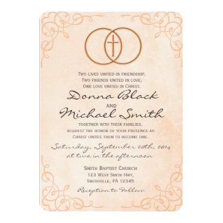 Exceptional Encircled Cross Religious Wedding Invitations