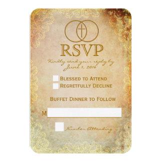 Encircled Cross Religious Wedding RSVP Card 2