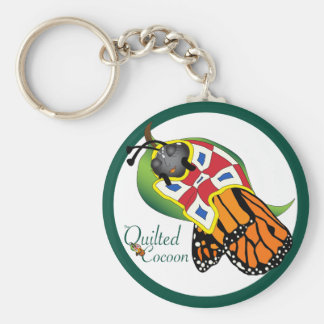 Encircled Quilted Cocoon Basic Round Button Keychain