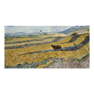 Enclosed Field with Ploughman by Vincent Van Gogh Card