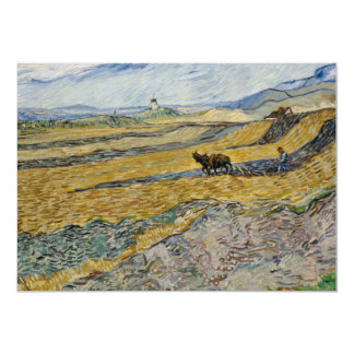 """Enclosed Field with Ploughman by Vincent Van Gogh 5"""" X 7"""" Invitation Card"""