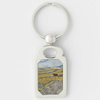 Enclosed Field with Ploughman by Vincent Van Gogh Key Chains