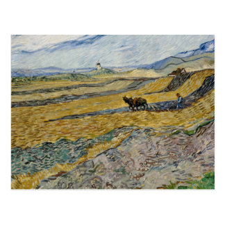 Enclosed Field with Ploughman by Vincent Van Gogh Postcard