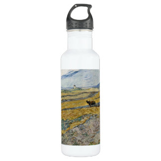 Enclosed Field with Ploughman by Vincent Van Gogh Stainless Steel Water Bottle