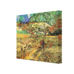 Enclosed Wheat Field w Peasant by Vincent van Gogh Stretched Canvas Print