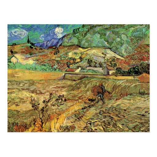 Enclosed Wheat Field w Peasant by Vincent van Gogh Postcard