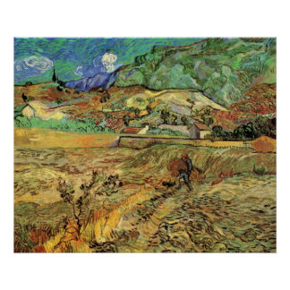 Enclosed Wheat Field w Peasant by Vincent van Gogh Posters