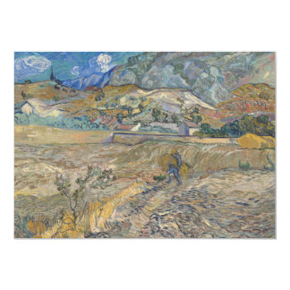 """Enclosed Wheat Field with Peasant by Van Gogh 5"""" X 7"""" Invitation Card"""