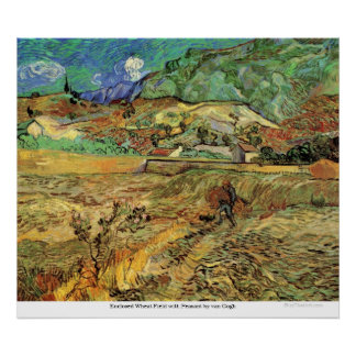 Enclosed Wheat Field with Peasant by van Gogh Print