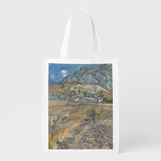 Enclosed Wheat Field with Peasant by Van Gogh Reusable Grocery Bag